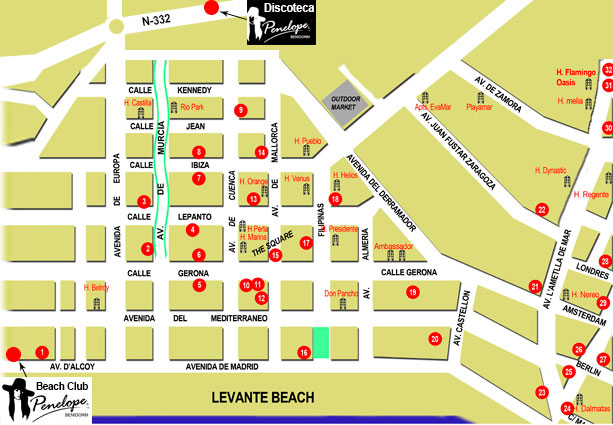 Hotel Map Benidorm Spain Benidorm Spain Map